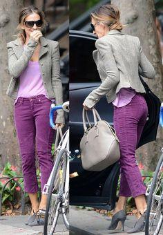 SJP in purple. Omg velvet purple pants grey half boots and grey marle jacket