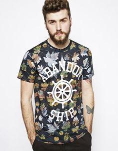 Abandon Ship T-Shirt with Leaves Print