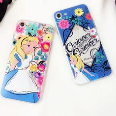 Relief Emboss Phone Case For iPhone 6 6 Plus 7 7 Plus Colorful Disneys Cartoon Figure Alice's Adventures in Wonderland -090116