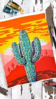 Arte Indie, Sunset Art, Sunset Paintings, Art Painting Gallery, Mini Canvas Art, Gouache Painting, Painting Art, Watercolor Art, Art Drawings