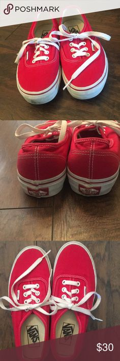 Red Vans❣️ Pre-loved Red Vans. Been sitting in my closet for months now. Good condition👍🏻Small black mark in front noted in pictures. Vans Shoes Sneakers