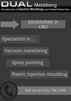 http://www.dual-metallising.co.uk/  Established in 1982, Dual Metallising are experts in vacuum metallising and much more.