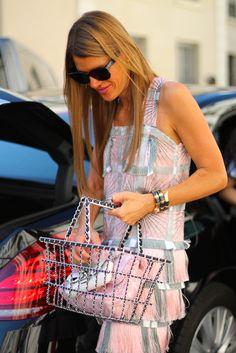 pink & grey fringe & a Chanel shopping basket. tremendous. AdR in Paris. #AnnaDelloRusso