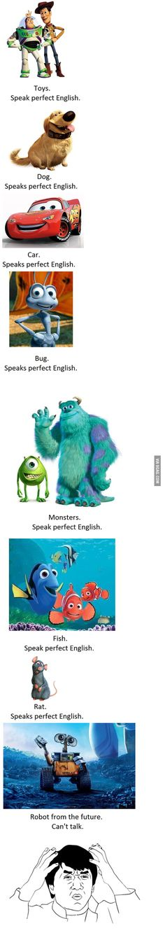 Whoever made this post obviously knows nothing about Pixar. Wall-E happens first, the. The last one of all of them is actually Bugs Life. If only they knew the Pixar secrets. Funny Disney Memes, Disney Jokes, Disney Facts, Stupid Funny Memes, Funny Relatable Memes, Funny Fails, Funny Stuff, Disney Cartoons, Funny Things
