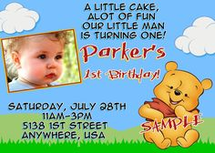 Winnie the Pooh Birthday Invitations by Createphotocards4u on Etsy, $15.00