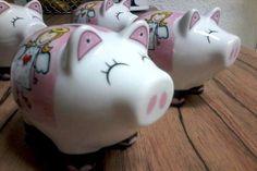 Set mit 4 SCHUTZENGEL Sparschwein   SCHWEINI  aus Porzellan