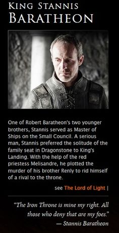 Stannis Baratheon, from HBO Viewer's Guide.