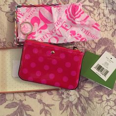 Kate Spade NWT pink and red polka dot wallet New with kate spade box, wrapping paper, and tags! Never been used before. kate spade Bags Wallets
