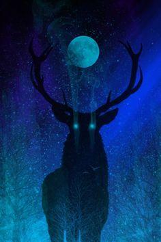Deer God Art Print by themindblossom Hirsch Wallpaper, Deer Art, Landscape Artwork, Moon Art, Sky Moon, Hippie Art, Dark Fantasy Art, Mythical Creatures, Bird Art
