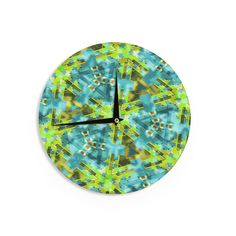 Kess InHouse Michael Sussna 'Pollenesia' Teal Green Wall Clock