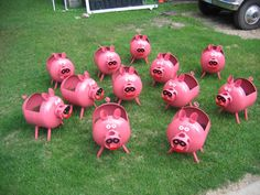 Our pig planters are recycled from outdated propane tanks. They can be brush painted any color. So fun.