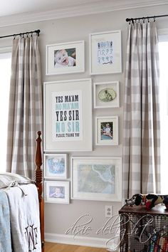 House of Turquoise // Dixie Delights love the gingham curtains House Of Turquoise, Gallery Wall Layout, Gallery Walls, Gingham Curtains, Outdoor Metal Wall Art, Amanda, Ikea, Frames On Wall, White Frames