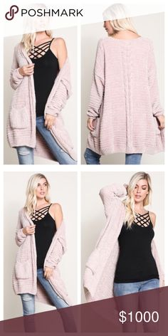 LAST ONEBlush Cozy Cardigan. M/L Super cozy blush cardigan with pockets. This will be your favorite sweater!!   These sweaters have been every poshers favorite this season and come highly recommended.  Also available in Navy, Ginger and Silver Available in M/L S/M sold out   PRICE FIRM AS THESE WERE COSTLY TO STOCK NO OFFERS Sweaters Cardigans