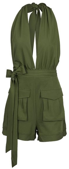 How about this halter design romper? Free shipping&easy return! It is detailed with waist sash&side pockets! Have this open back style at Cupshe.com