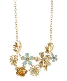 Look what I found on #zulily! Gold & Turquoise Flower Statement Bib Necklace #zulilyfinds