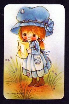 Vintage Swap Card Cute Girl Reading Letter Blank Back | eBay
