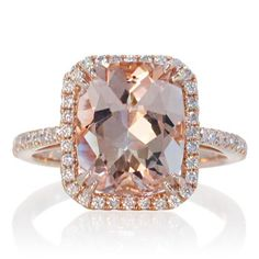 Rose Gold Morganite Ring 11x9 mm Cushion Cut Diamond by SAMnSUE, $1350.00