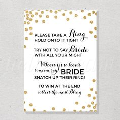 Don't Say Bride Game, Printable Confetti Gold Bridal Shower Game- SKUHDG14 by hellodreamstudio on Etsy