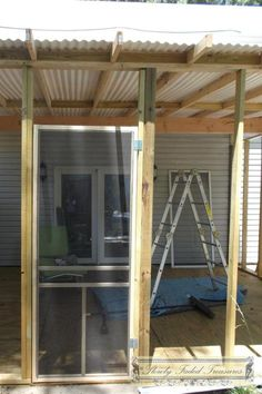 Pergola For Small Patio Porch Roof, Diy Porch, Diy Patio, Backyard Patio, Front Porch, Small Screened Porch, Screened Porch Designs, Small Patio, Pergola With Roof