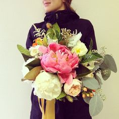 Bright Bouquet of peonies, garden roses, and gold streamers