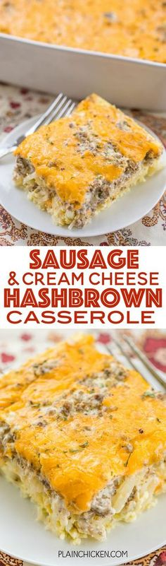 Sausage & Cream Cheese Hashbrown Breakfast Casserole - all of my favorite breakfast foods in one easy casserole! Frozen hashbrowns, sausage, cream cheese, eggs and cheddar cheese. Can make ahead of time and refrigerate or freeze for later. Can split betwe