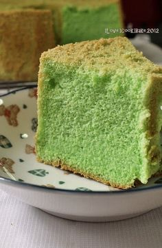 PANDAN CHIFFON CAKE (Lower in sugar and fats). This recipe uses 4 egg yolks and 5 egg whites for the cake.