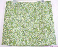 J.Crew Skirt Cotton Fan Seashell Green 62830 Mini Back Zipper Twill Multi 10  #JCrew #ALine