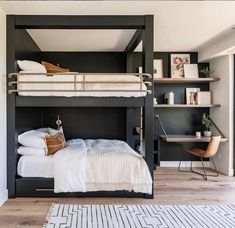 14 Trendy Bedroom Design and Decor Ideas for Your Next Makeover - The Trending House Adult Bunk Beds, Bunk Bed Rooms, Bunk Beds Built In, Modern Bunk Beds, Cool Bunk Beds, Bunk Beds With Stairs, Queen Bunk Beds, Bunk Beds For Adults, Black Bunk Beds