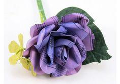 Purple Music Sheet Rose - Grooms Buttonhole - Boutonniere - TheWeddingMile.com