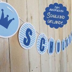 Schulkind-Girlande zur Einschulung: einfach ausdrucken und losbasteln! Freebie von ENGEL + BANDITEN