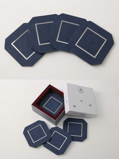Luxurious coasters in Nile blue shagreen & stainless steel.