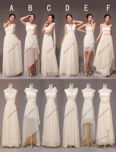 Beautiful Six Style optional Chiffon Bridesmaid Dresses/High-Low Bridesmaid Dress/Long Bridesmaid Dress/Custom Color