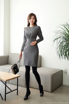 Korean Women`s Fashion Shopping Mall, Styleonme. Stylish Work Outfits, Office Outfits, Classy Outfits, Korean Fashion Trends, Asian Fashion, Pantyhosed Legs, Korean Dress, Korean Women, Work Attire