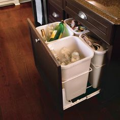 Recycling area. I NEED this one. But I guess it won't go under the sink, because of all of the plumbing. That's where my current garbage is located.