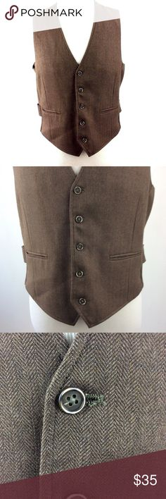"Johnston & Murphy Men's Suit Vest Waistcoat Size M Johnston & Murphy Men's Suit Vest Waistcoat Size M Herringbone Brown Blue Gold  Armpit to Armpit: 21"" Shoulder to Hem: 22.5"" Dry Clean Only Johnston & Murphy Suits & Blazers Vests"