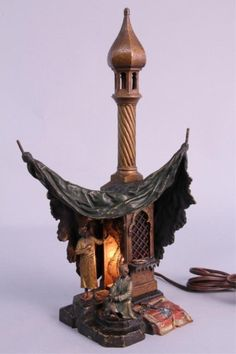 Signed Bergman Cold Painted Bronze Lamp