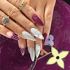 Grey + Burgundy Stiletto Nails