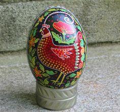 Goose egg rooster design pysanky egg