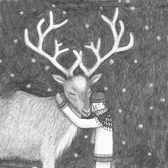 Christmastcard illustrated by Christmas Deer, Christmas Images, Winter Christmas, Merry Christmas, Xmas, Holiday, Love Illustration, Graphic Design Illustration, Deer Art