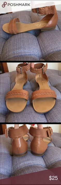 NWOT Marc Fisher tan leather braided sandal 7.5 Mark Fisher tan leather braided flat sandals. Size 7.5 these are brand-new without tags. Marc Fisher Shoes Sandals