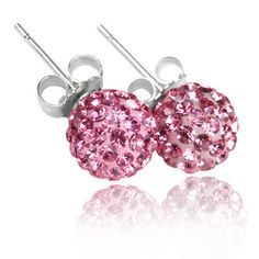 6 10MM PINK SHAMBALLA ROUND CRYSTAL STUDS EARRINGS