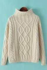 Plain High Collar Long Sleeve Loose Pullover Sweater