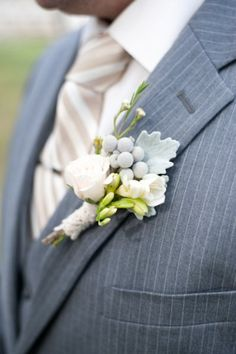 A lovely soft, pastel #boutonniere with roses and billy balls! | Marlon Taylor Photography