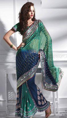 Green, Blue & Grey Color Lehenga Style Saree