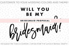 Will You Be My Bridesmaid Card - Wedding Party Card - Maid of Honor Proposal  - Bridal Party Ask Cards - Wedding Shower - Will you be my by kcrookdesign on Etsy