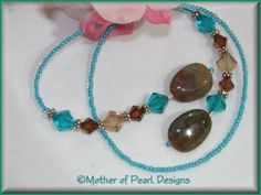 Mother of Pearl Designs Handcrafted Jewelry - Swarovski Crystal & Agate Bookmark