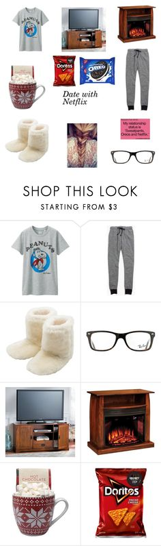 """""""Date with Netflix"""" by bl92002 on Polyvore featuring Uniqlo, Madewell, M&Co, Ray-Ban, DutchCrafters and Love Quotes Scarves"""