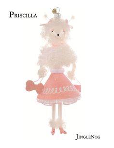 JingleNog's Italian Free Blown Glass Poodle Ornament, 'Priscilla'!