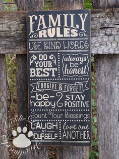Family Rules 2 Chalkboard Art TypographyWord by GoldieLooWoodworks, $36.00