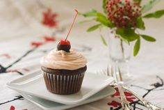 Cherry Heart Cupcakes Recipe. Filled chocolate cupcakes with a cherry cream cheese frosting.